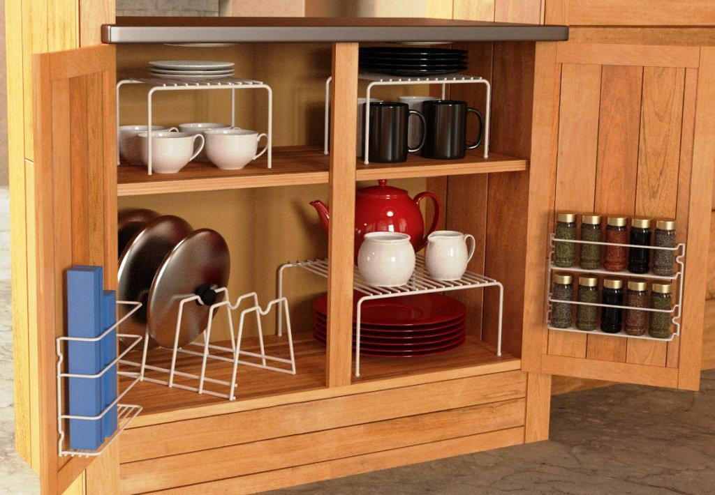 Complete Rustic Wooden Counter with Simple Kitchen Storage Ideas for Traditional Kitchen using Grey Flooring