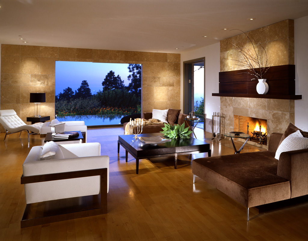 Complete Sitting Room with White Sofas and Brown Chaise near Wide Coffee Table for Modern Interior Design
