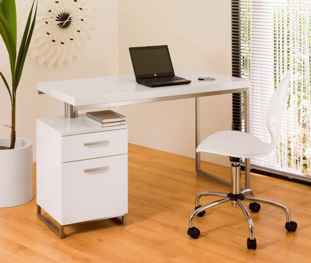 Complete Small White Desk with Clean Document Cabinet and Modern Swivel Chair on Hardwood Flooring