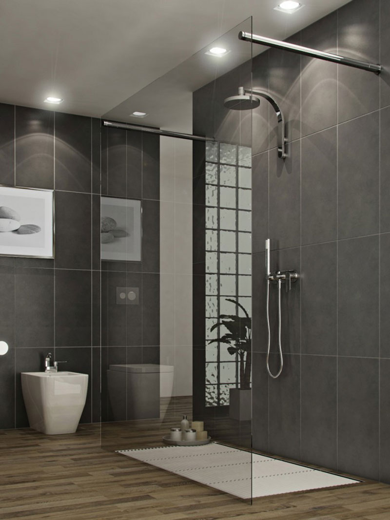 Complete Stylish Bathroom with Stunning Bathroom Shower Ideas using Glass Panel and Glossy Shower Faucet