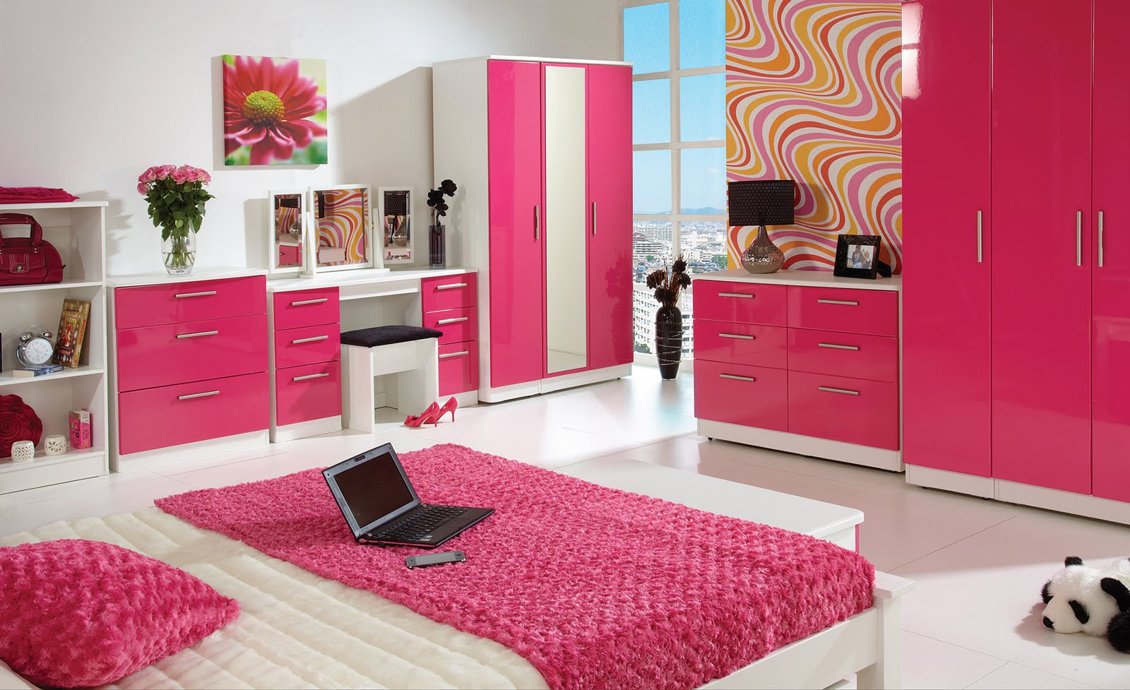 Complete Teen Bedroom using Lovely Feng Shui Colors near White Bed and Pink Duvet facing Pink Dressers