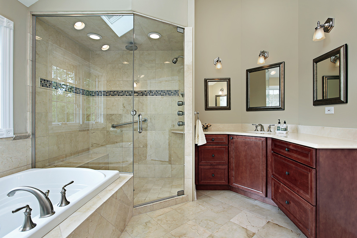 Complete Traditional Bathroom using Glass Walk in Shower Ideas and Long Oak Vanity on Marble Flooring