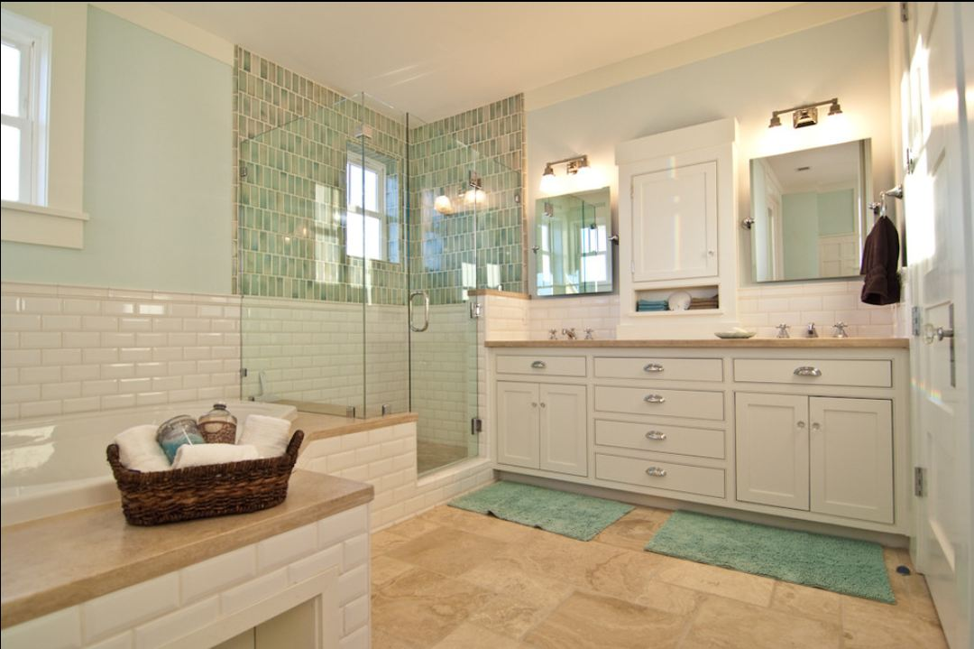 Complete Traditional Bathroom using Subway Tile Bathroom Wall and Glass Shower Space near White Vanity