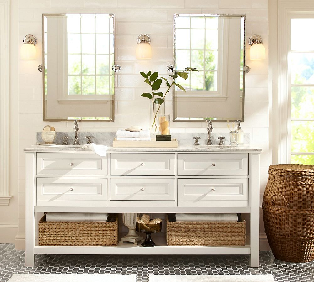 Complete Traditional Bathroom Using White Vanity And Awesome Mirrors On Tile Wall