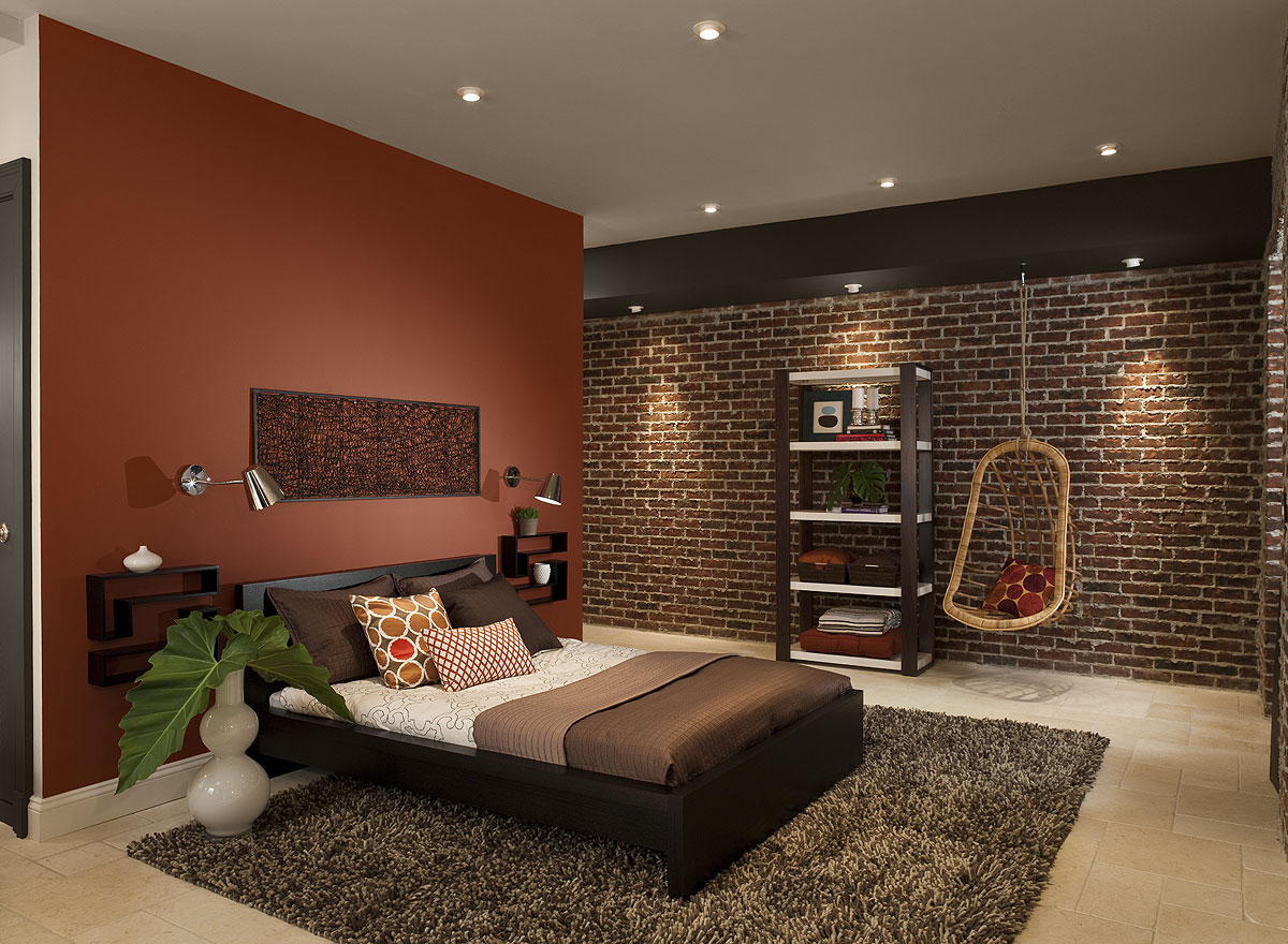 Complete Wide Bedroom With Exposed Brick Wall And Beige Bedroom Color Ideas  Near Wooden Bed
