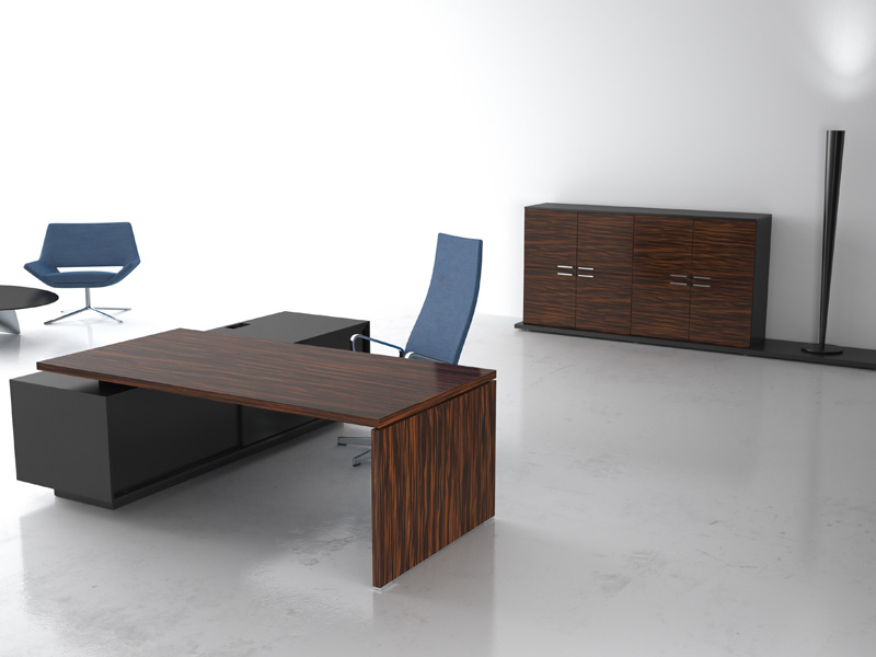 complete wide office room with grey swivel chair and modern wooden office desk on concrete flooring