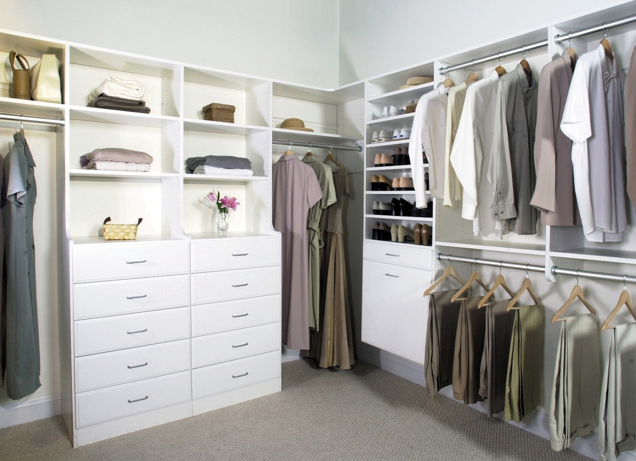 Complete Wide Walk In Closet with White Dresser and Tidy Clothes Hangers using Appealing Closet Design Ideas