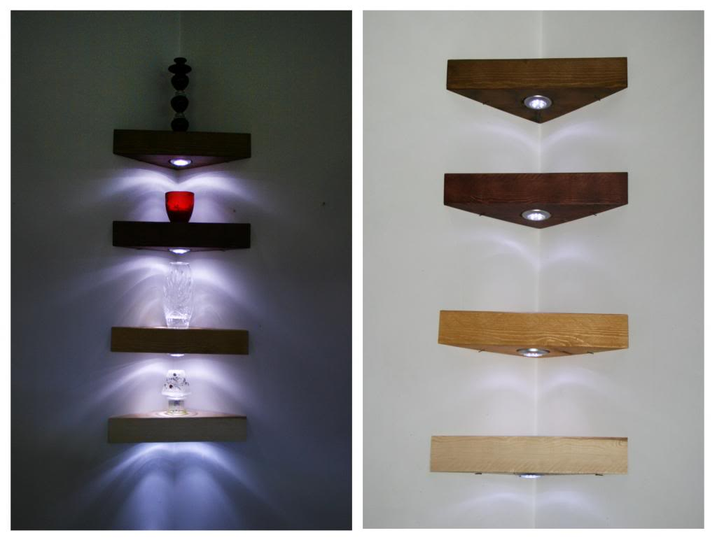 Complete Wooden Floating Corner Shelves with Bright Under Shelf Lights on Clean Painted Wall