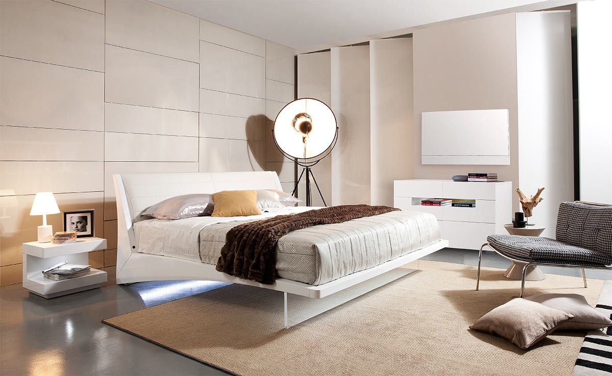 Complete the Stunning Bedroom with White Nightstands and Comfy Floating Bed Frame on Concrete Flooring