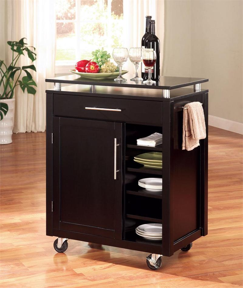 Complete your Stylish Kitchen using Black Rolling Kitchen Island with Lower Shelves and Cabinet