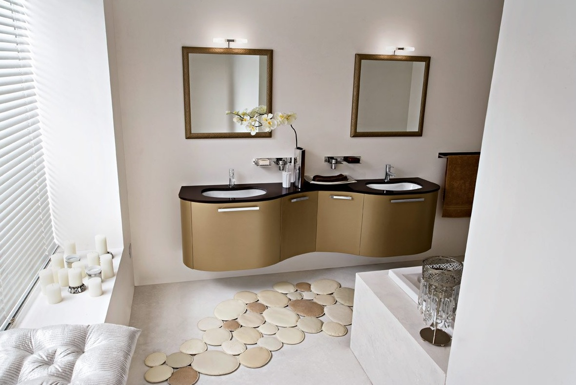 Contemporary Bathroom Flooring Ideas with Brown Vanity Design