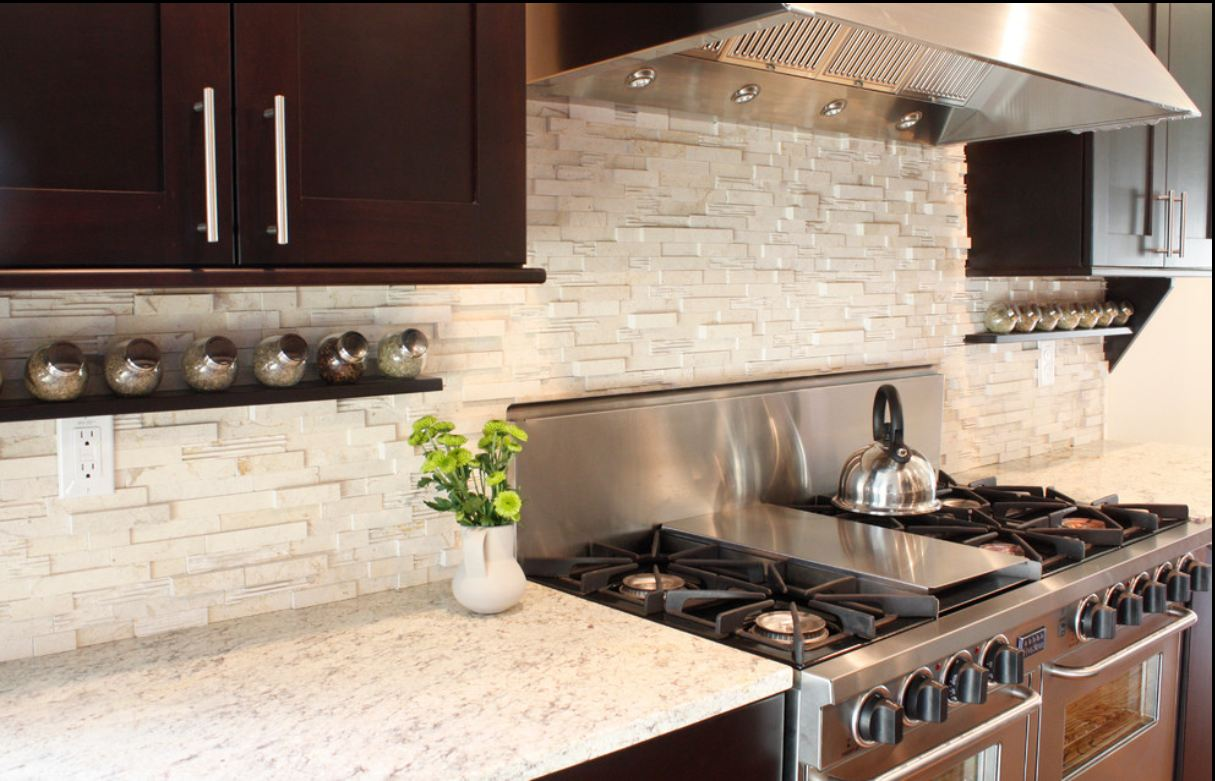 Contemporary White Kitchen Tile Backsplash Decorating Modern Kitchen with Glossy Stove and Quartz Countertop