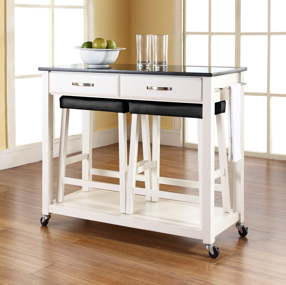 Cozy Stools in Stunning Movable Kitchen Island with Dark Top and Small Wheels on Hardwood Flooring