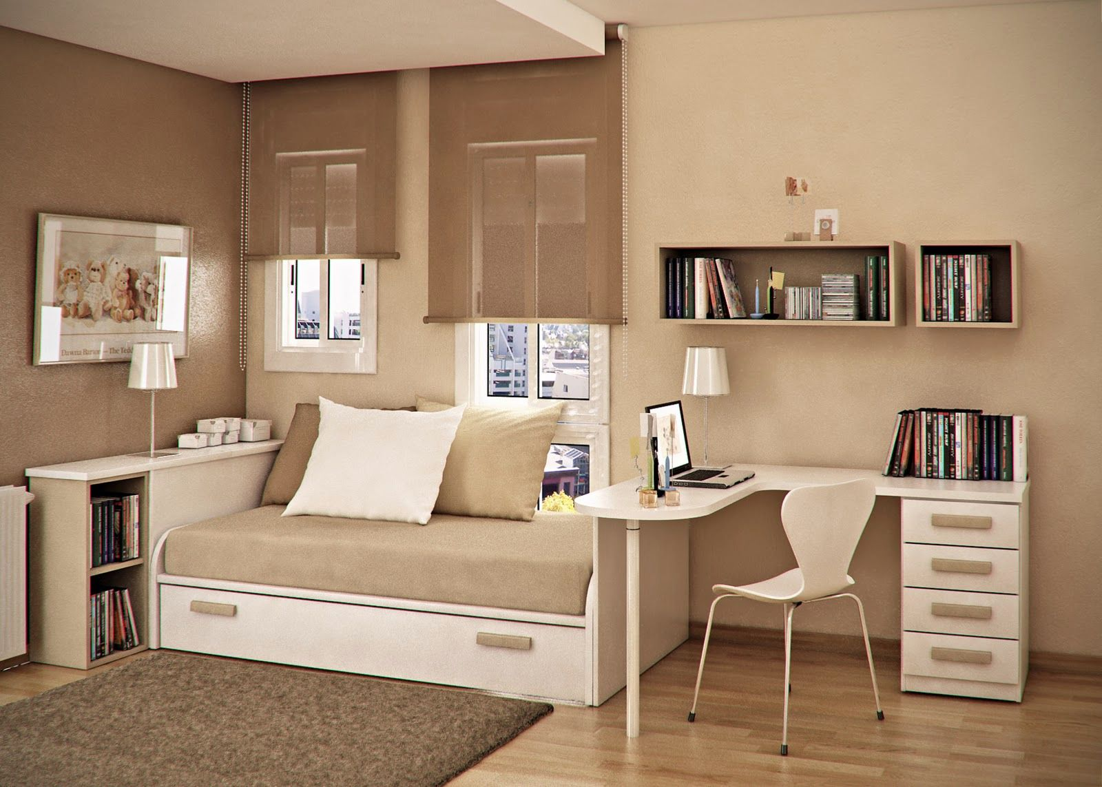Cream Painted Wall and Wooden Flooring in Simple Teen Room Design Ideas with White Desk and Chair