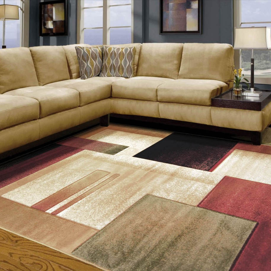 Cream Sectional Sofa and Contemporary Table Lamp Completing Awesome Room with Wide Living Room Rug