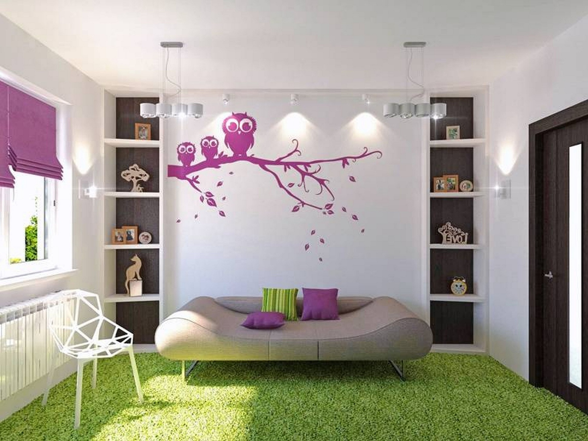 Cute Purple Owl Wall Mural Decorating Wide Teen Room Decor with Sofa Bed and White Shelves