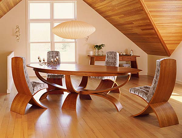 Dainty Dining Area Furniture Using Circle Wooden Japanese Table and Chairs
