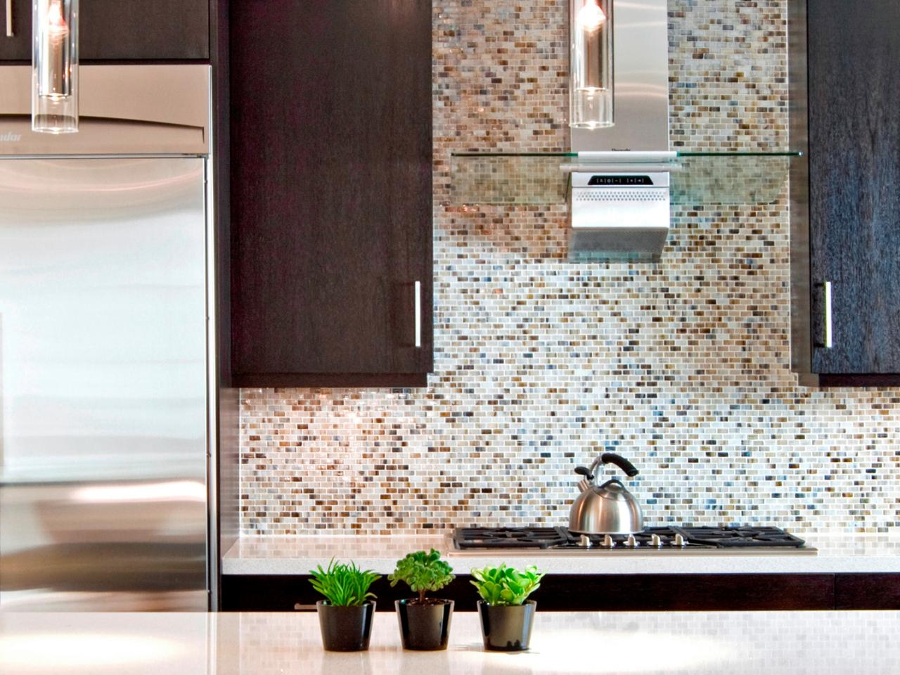 Decorate Appealing Kitchen With Small Tile Kitchen Backsplash Designs And  Modern Range Hood