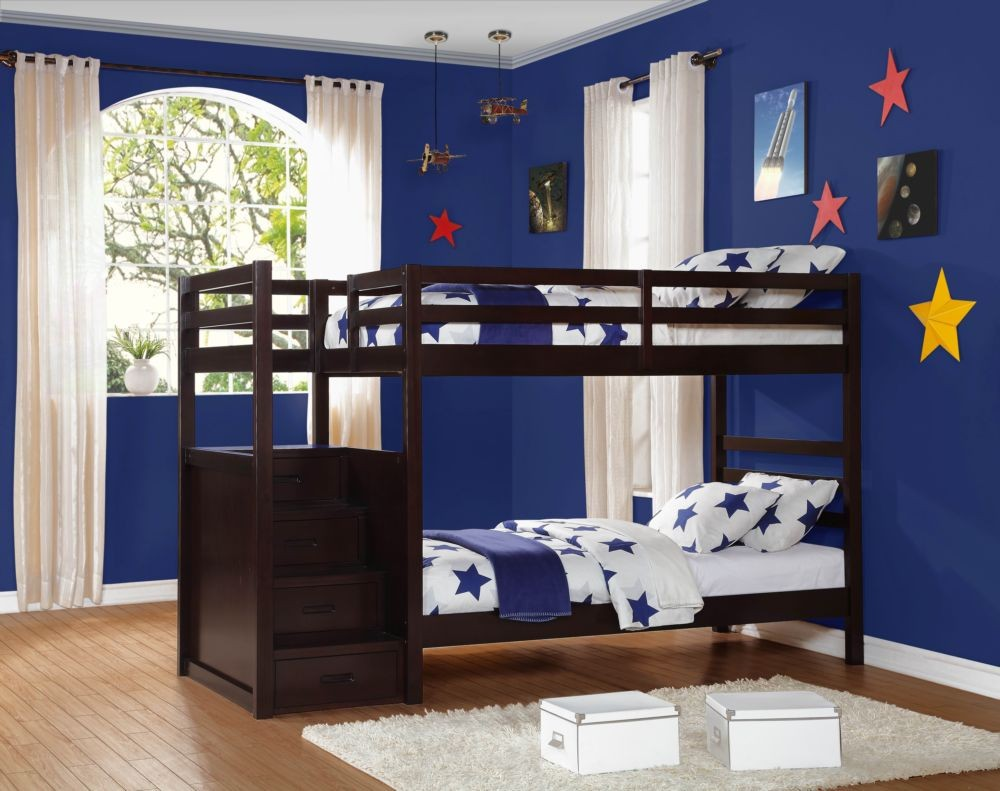 Decorate Boys Bedroom with Dark Wooden Bunk Beds with Storage and White Carpet Rug near Blue Painted Wall