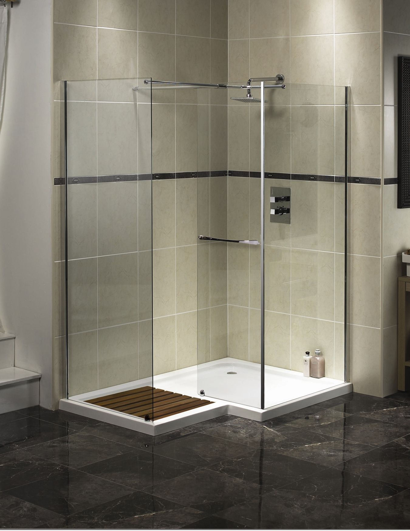 Decorate Corner Walk In Shower Designs with Glass Panels and Grey Tile Wall near Marble Flooring