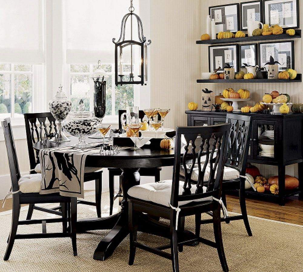 Decorate Dark Round Table using Classic Dining Table Centerpieces for Traditional Dining Room under Vintage Lamp