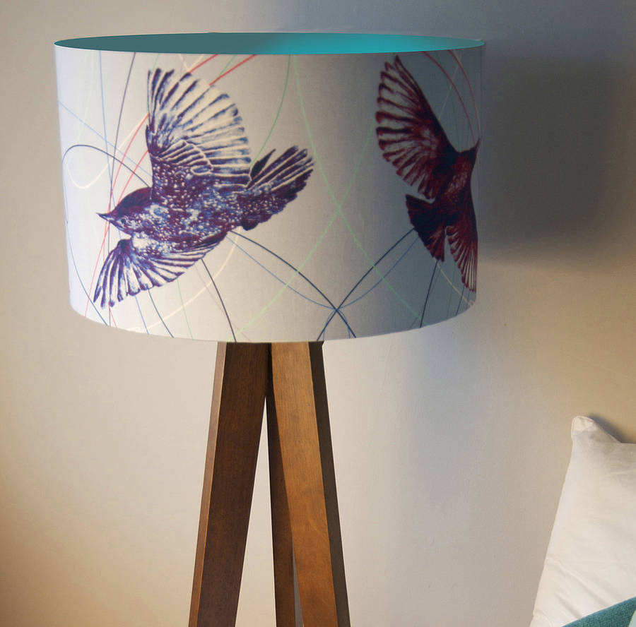 Decorate Drum Lamp Shades with Bird Print on Simple Floor Lamp inside Cozy Room