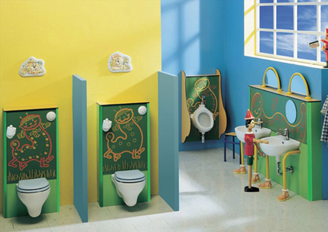 Decorate Fun Room using Fancy Kids Bathroom Sets with Low Sinks and Small Wall Mirrors