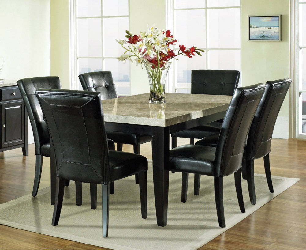 Decorate Glass Top Dining Table in Open Dining Room with Colorful Flowers near Black Leather Chairs