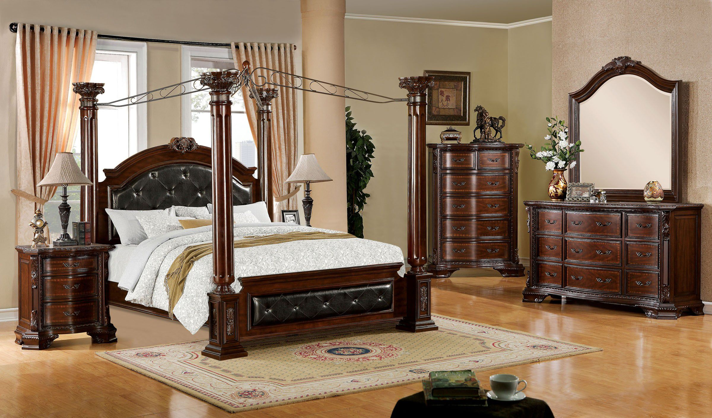 Decorate Gorgeous Bedroom with Oak Canopy Bedroom Sets and Dressers on Laminate Wooden Flooring
