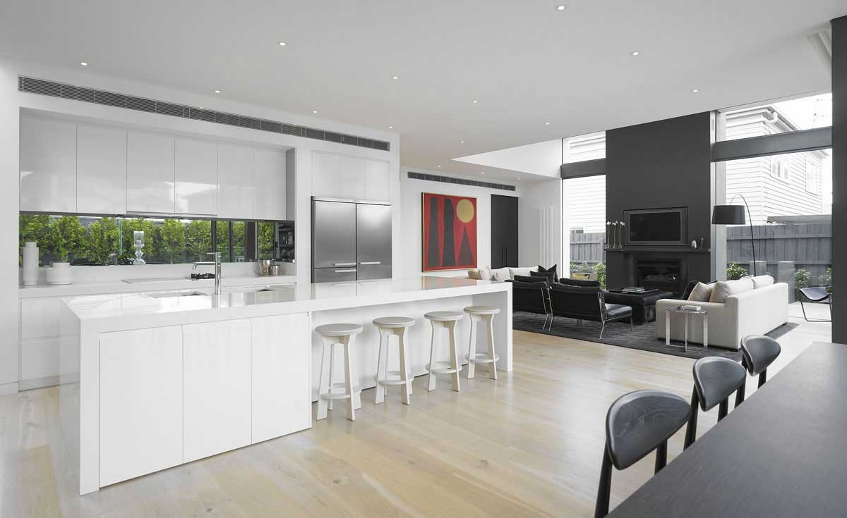 Grey themes and ideas for comfortable living room for Modern kitchen design australia