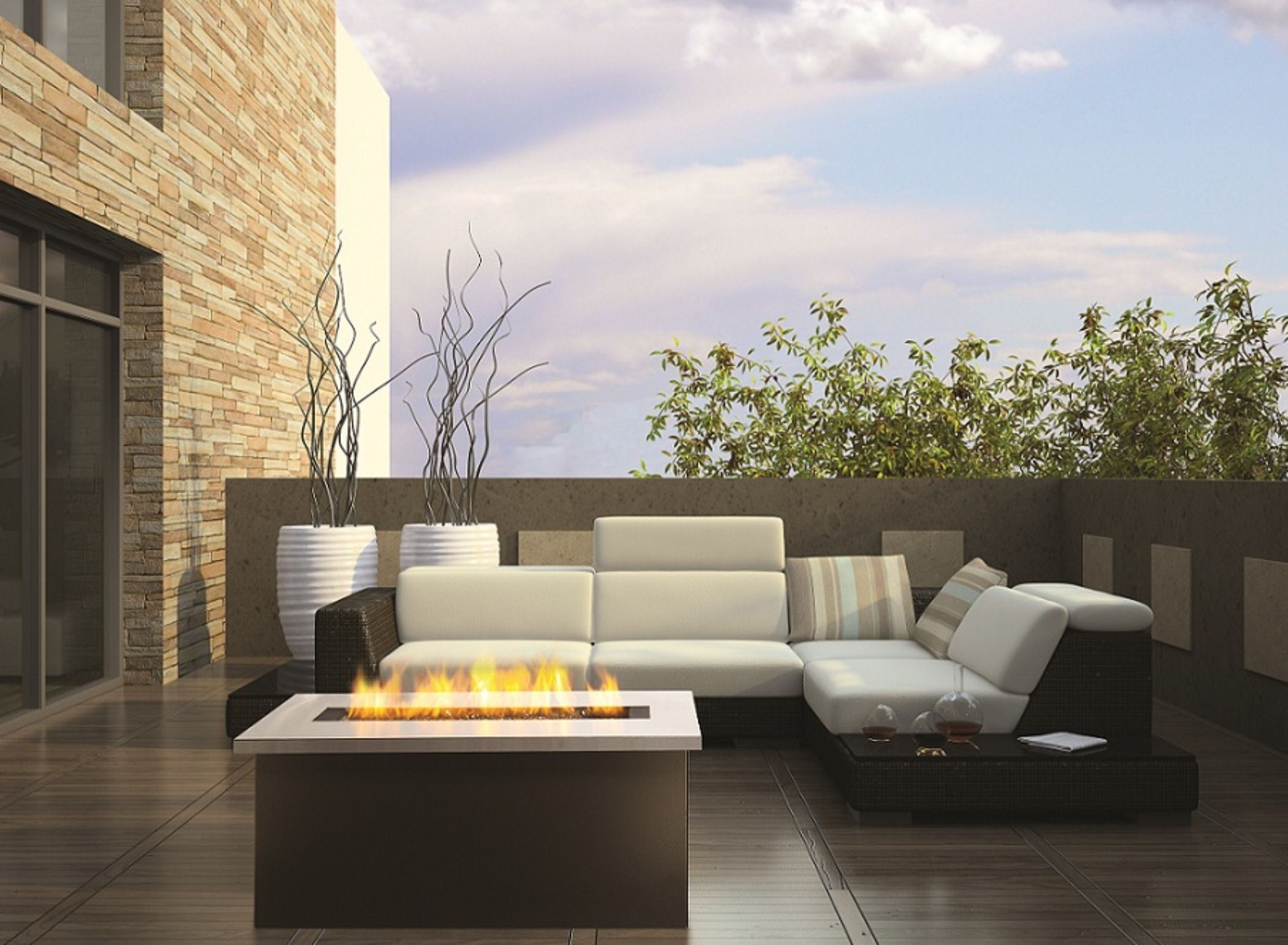 Decorate Minimalist Deck with Stunning Outdoor Fire Pit Ideas and Black Wicker Sectional Soga on Wooden Flooring