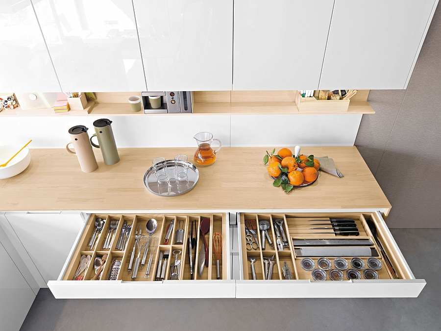 Decorate Minimalist Kitchen with White Cabinets and Interesting Kitchen Storage Ideas above Grey Concrete Flooring