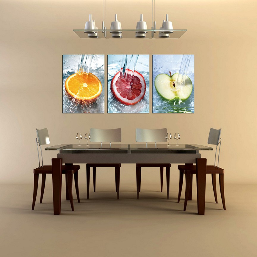 decorate modern dining room with fruits wall art ideas facing glass