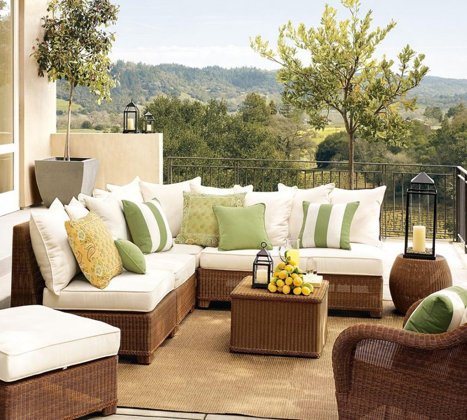 Decorate Old Fashioned Patio with Modern Patio Furniture using Wicker Sectional Sofa and Black Lantern