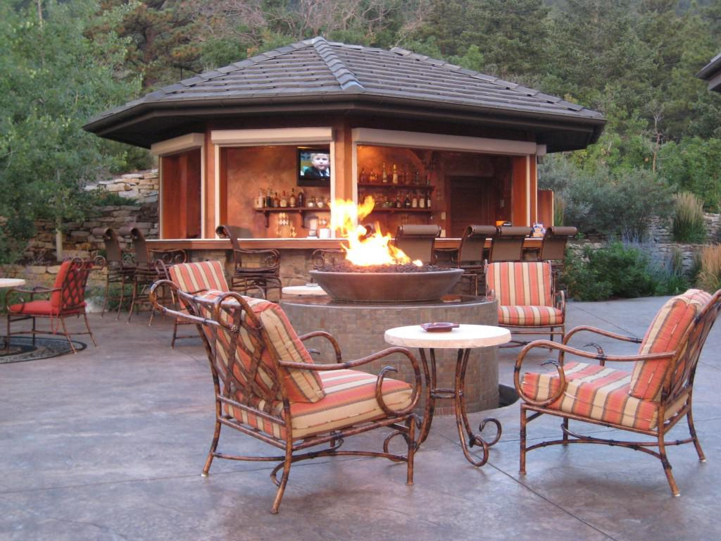 Decorate Open Patio With Old Fashioned Outdoor Chairs And Round Fire Pit  Designs