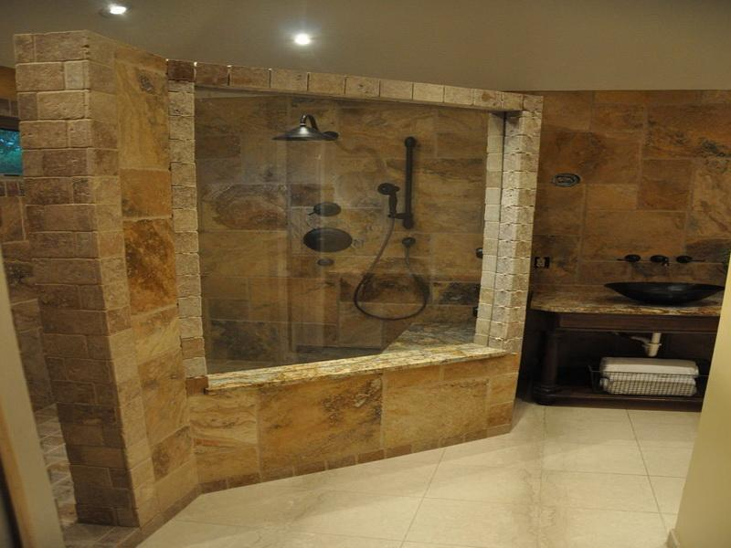 Decorate Rustic Bathroom with Stone Tile Shower Ideas in Wide Shower Area near Long Vanity