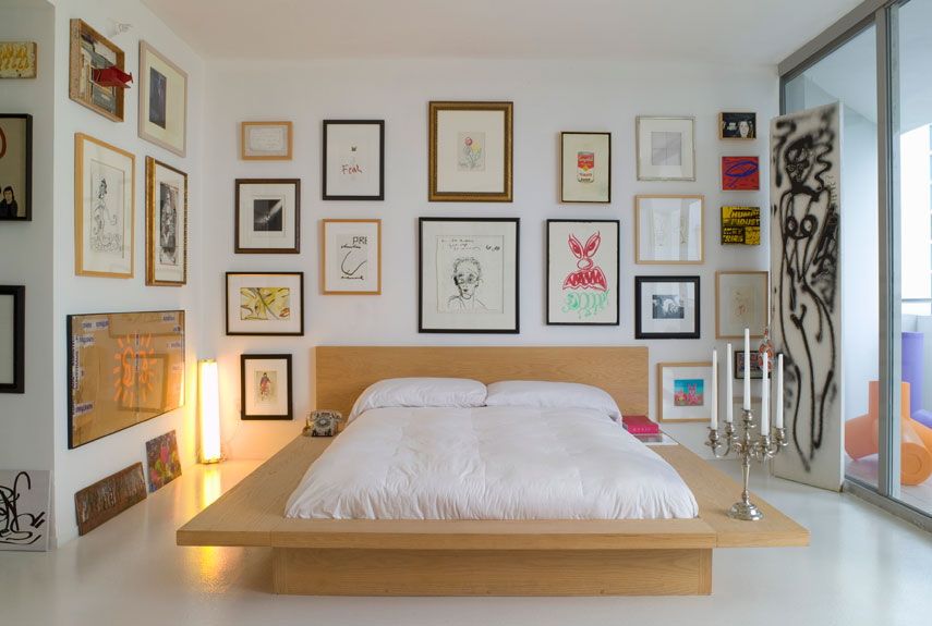 Decorate Simple Bedroom Design Ideas with Unusual Wall Arts and Silver Candles Handle on Platform Bed