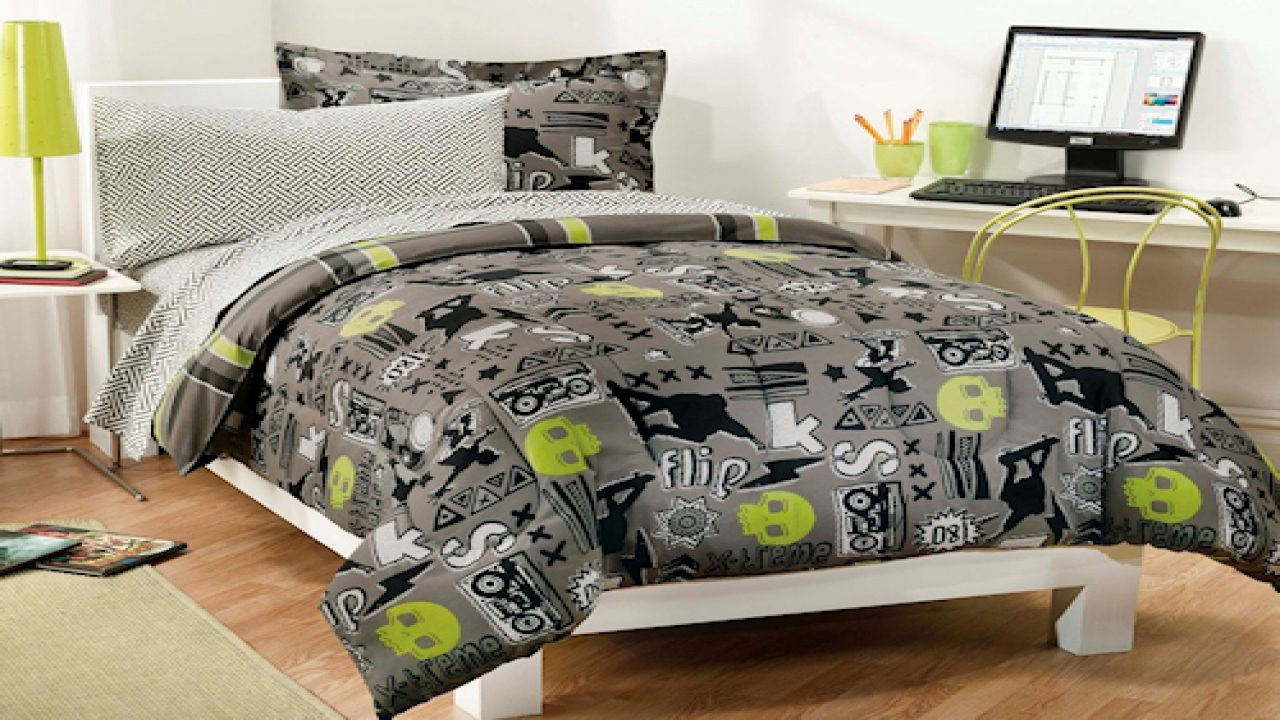 Decorate Simple White Bed with Grey Teen Boy Bedding beside White Computer Desk and Metal Chair