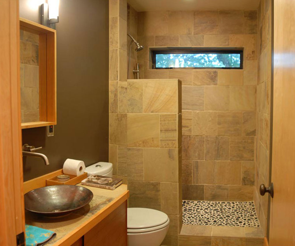 Decorate Small Bathroom Remodel Ideas with Wooden Vanity and Round Metal Sink Bowl near Shower Space