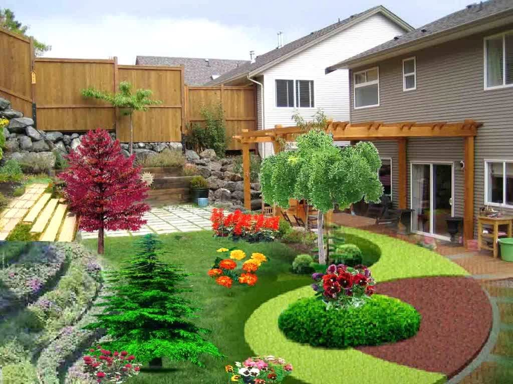 Decorate Spacious Backyard Landscaping Ideas with Colorful Flowers and Brick Pathway near Wooden Pergola