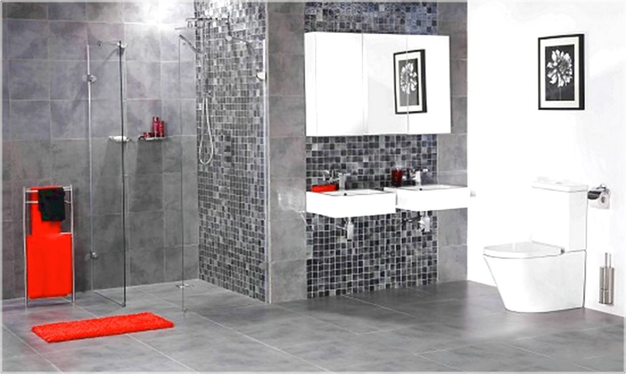 Decorate Spacious Bathroom using Grey Bathroom Wall Tile near Floating White Sinks and Glass Shower Room
