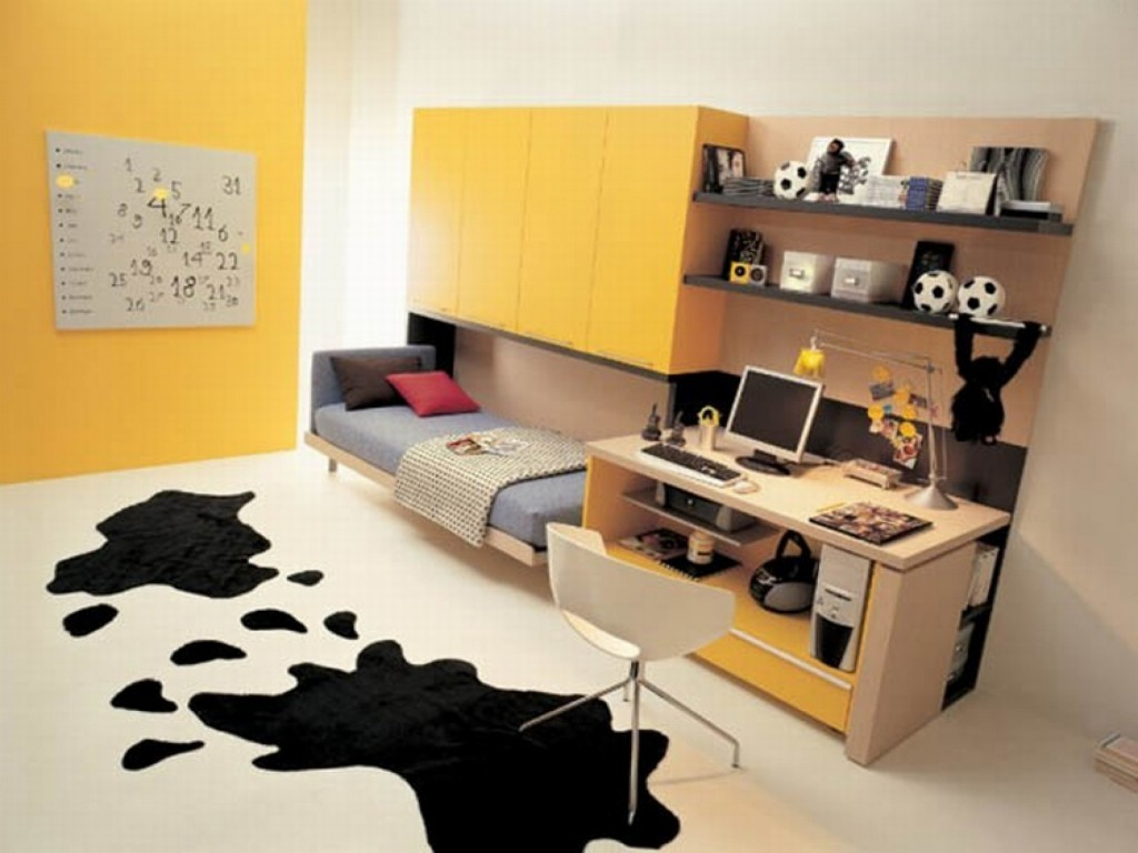 Decorate Teen Bedroom using Brilliant Space Saving Furniture with Computer Desk and Pulled Bed