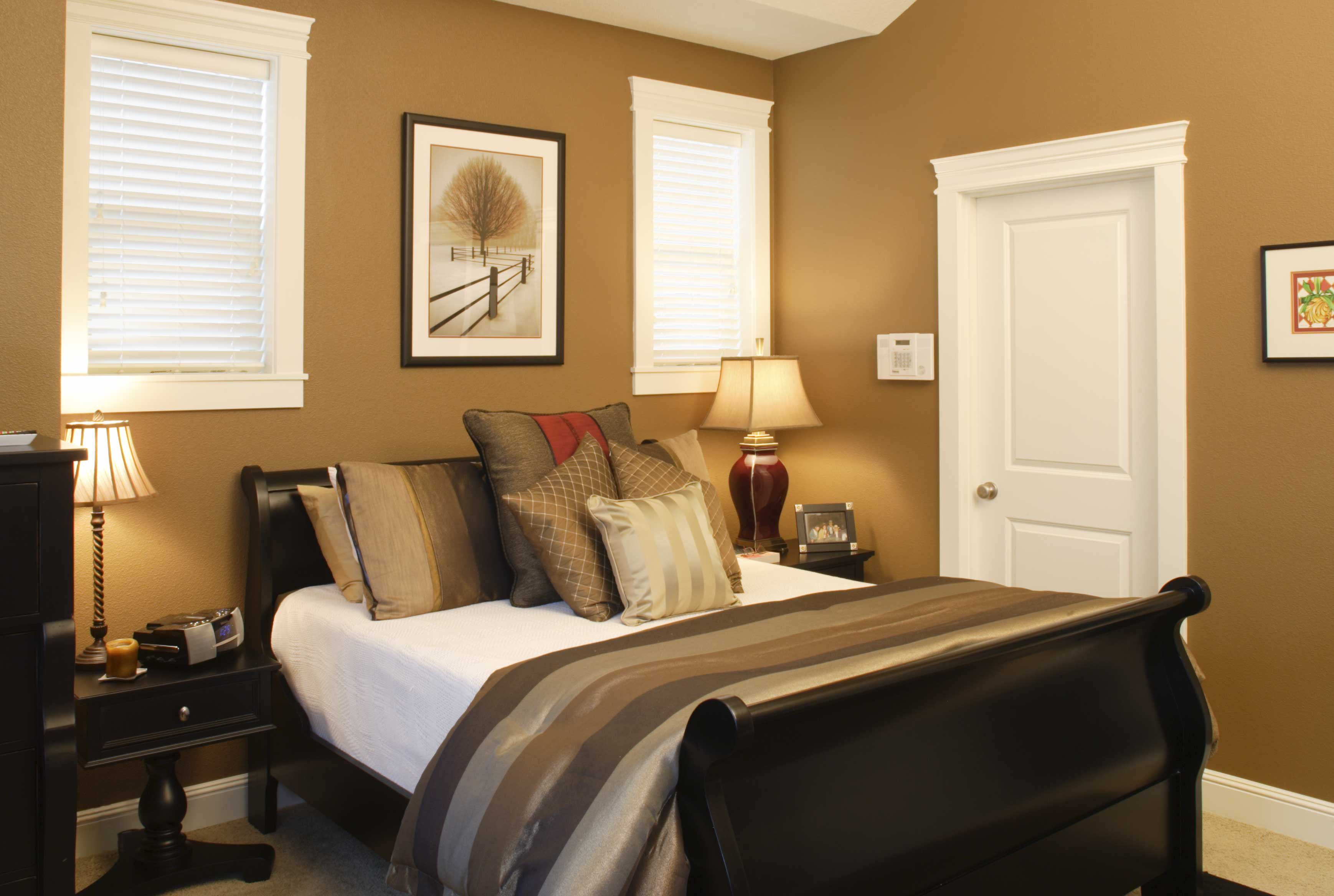 Decorate Traditional Room With Beige Bedroom Color Ideas And Dark Wooden  Bed Near Oak Nightstands.