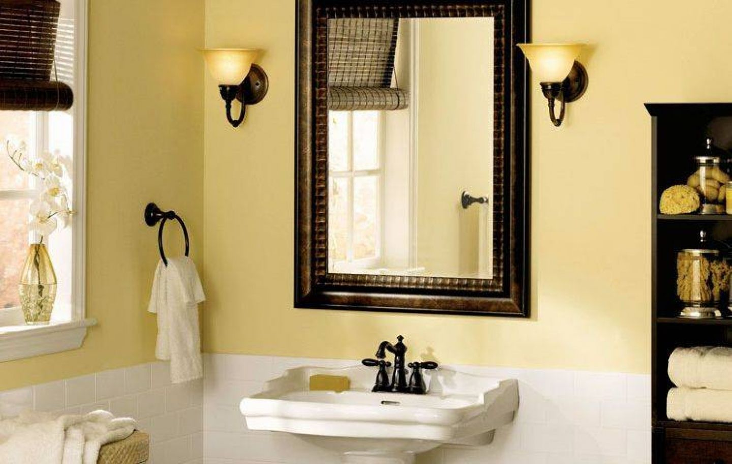 Decorate Traditional Room with Wooden Framed Bathroom Mirrors and White Pedestal Sink near Black Towel Shelves