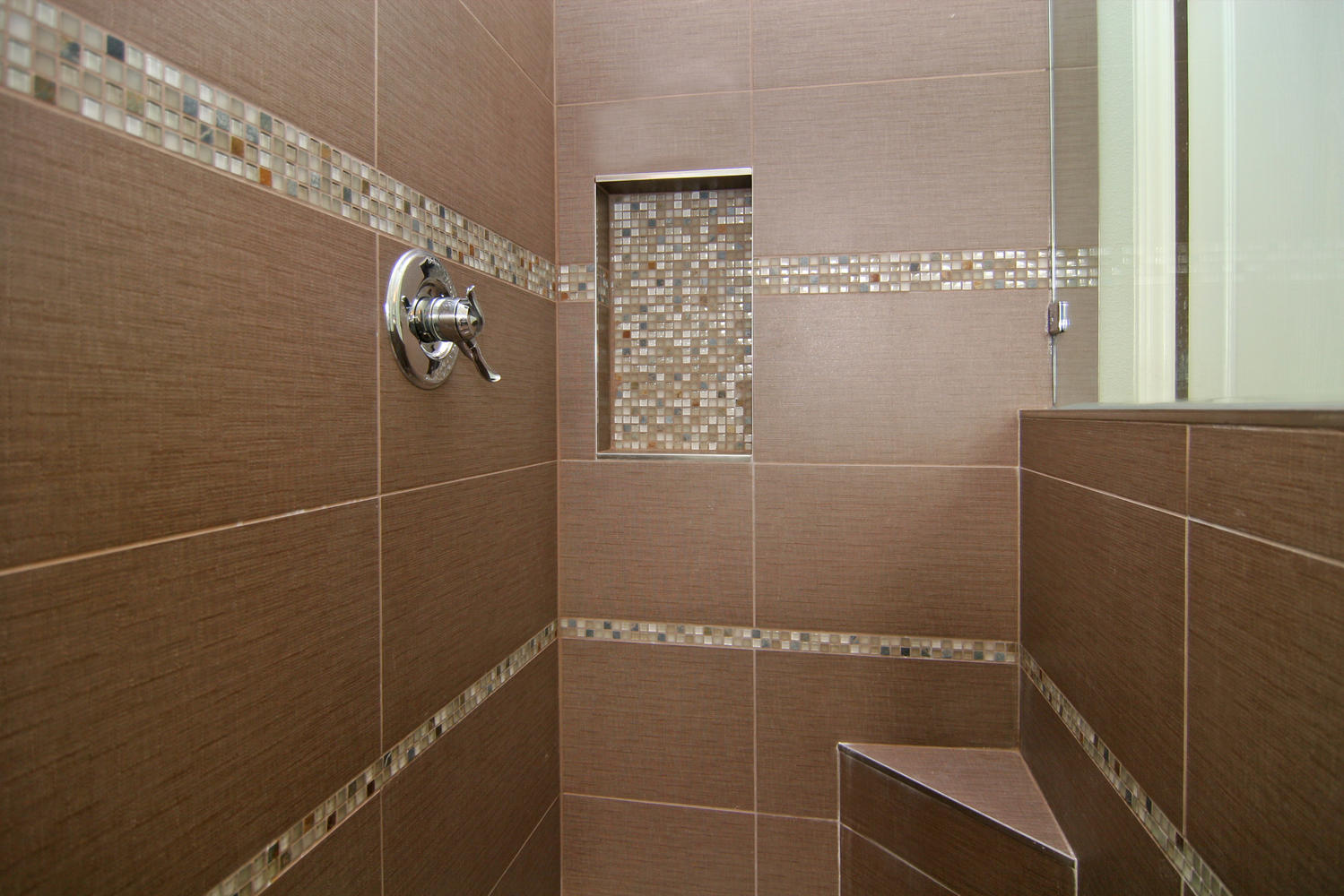 Decorate Walk In Shower Space With Planted Wall Shelf And Cream Shower Tile  Designs Near Glass