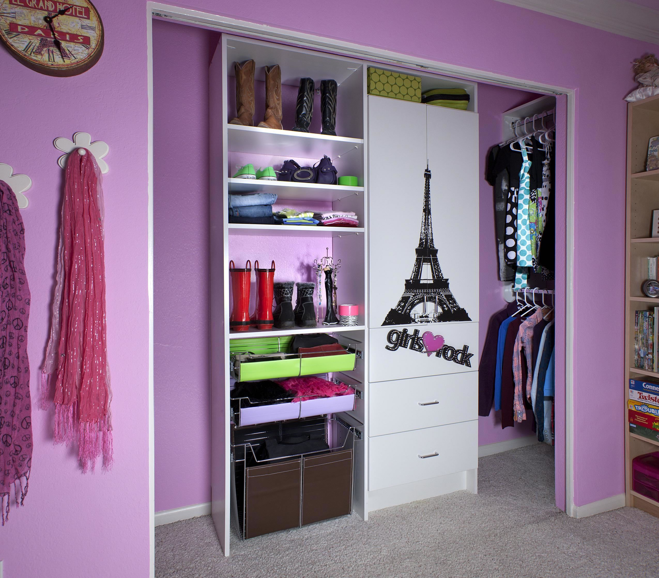 Decorate White Wardrobe Cabinet with Eiffel Tower Decal in Small Closet Ideas for Girl Bedroom