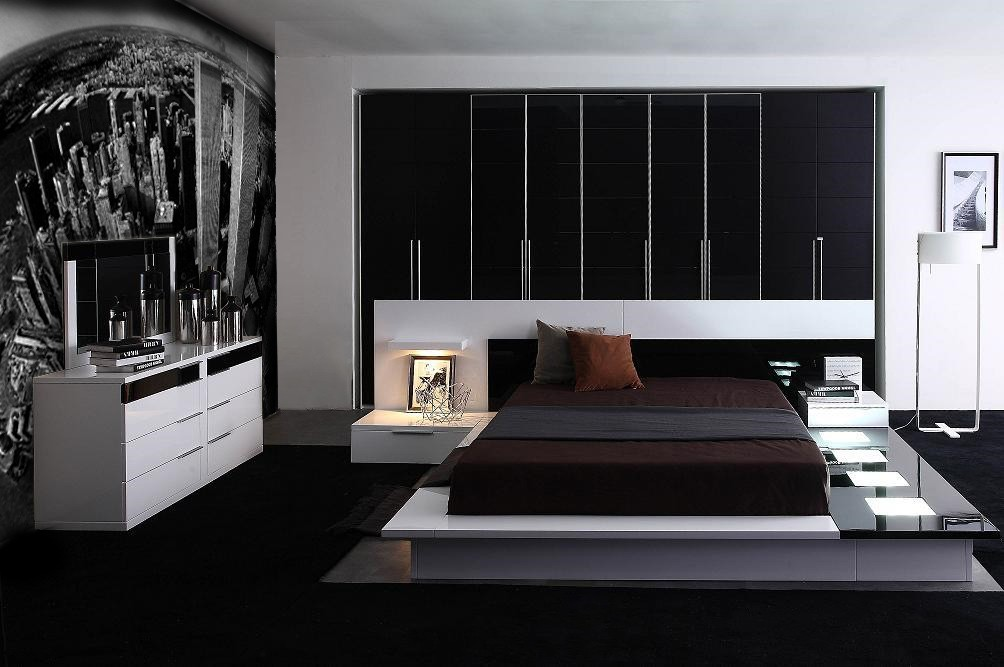 Decorate Wonderful Bedroom with City View Wall Decal and White Dresser near Modern Bed Frames