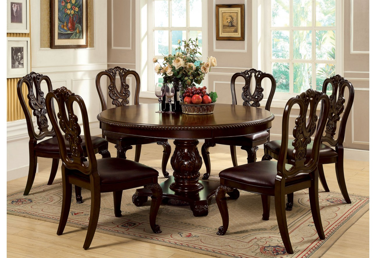 Choose round dining table for 6 midcityeast for Dining table set for 6