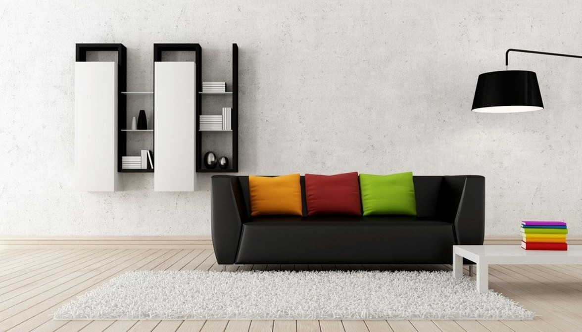 Decorate the Contemporary Living Room with Black Sofa and Colorful Cushions near White Coffee Table
