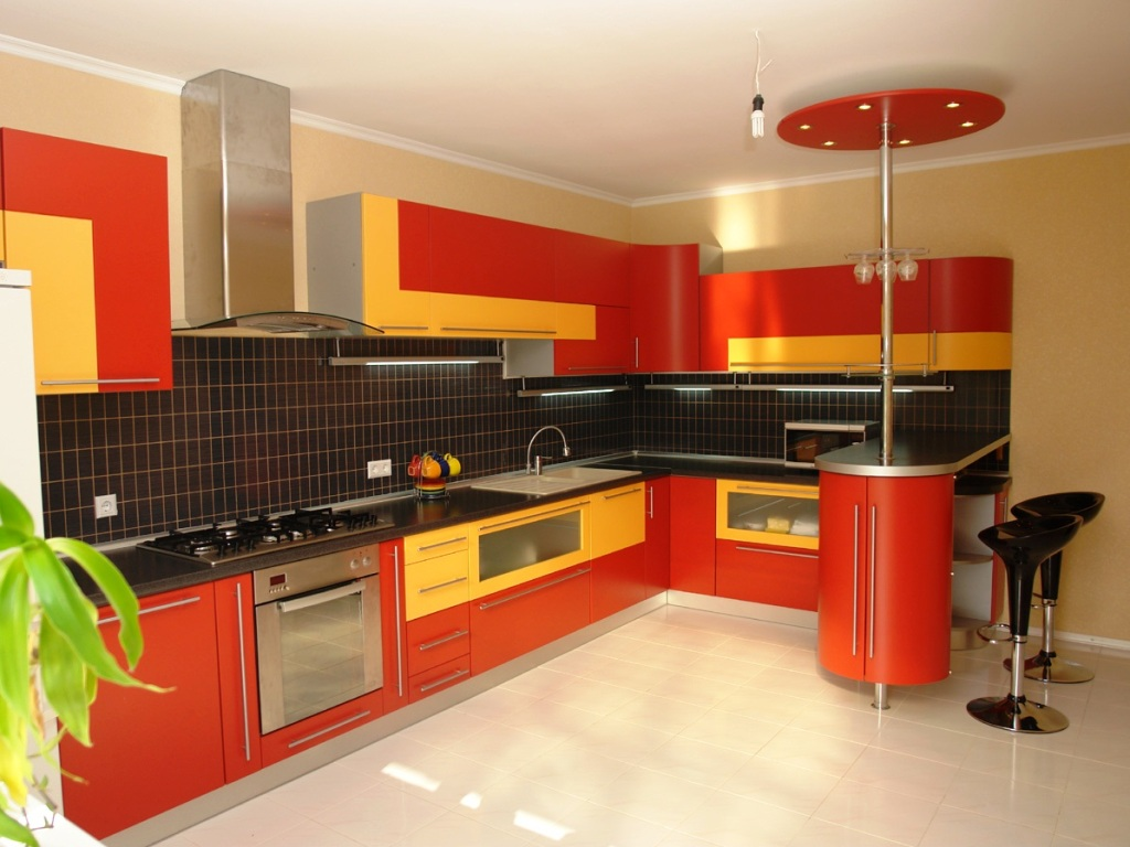 Decorate the Fancy Small Kitchen Design with Yellow and Orange Cabinets near Tile Backsplash